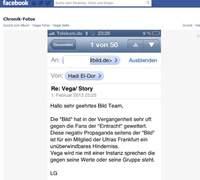 Vega will kein Interview mit Bild. (Screenshot: Facebook)